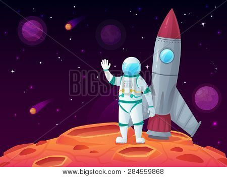 Astronaut In Lunar Surface. Rocket Spaceship, Space Planet And Outerspace Travel Spacecraft Vector C