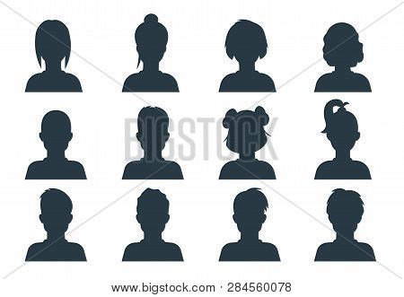 Silhouette Person Head. People Profile Avatars, Human Male And Female Anonymous Faces. Vector User B