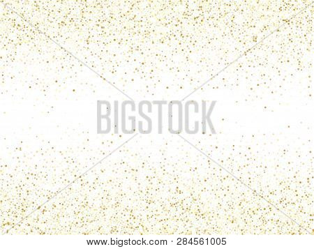 Gold Sparkles Glitter Dust Metallic Confetti Vector Background. Abstract Golden Sparkling Background