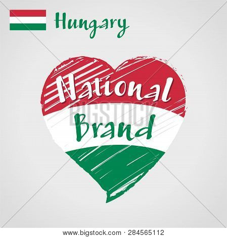 Vector Flag Heart Of Hungary, National Brand. Hungary Flag In Shape Of Heart, Pencil Strokes Drawing