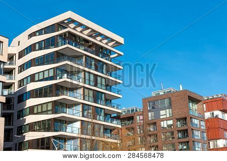 Modern Apartment Houses In The Hafencity In Hamburg