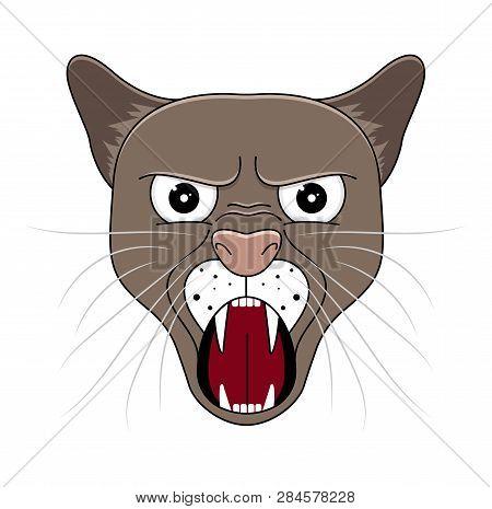 Head Of Puma In Cartoon Style. Vector Illustration. Woodland Animal Head Icon. Angry Puma. Puma Emot
