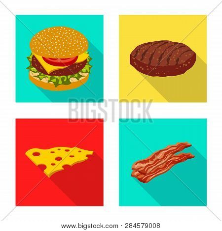 Vector Illustration Of Burger And Sandwich Icon. Set Of Burger And Slice Stock Vector Illustration.