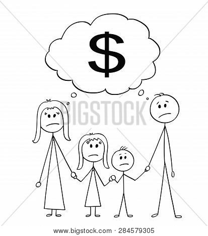 Cartoon Stick Figure Drawing Conceptual Illustration Of Unhappy Family, Couple Of Man And Woman And