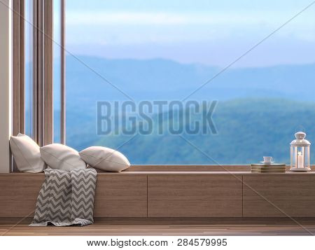 Window Seats With Blurry Natural Views 3d Render,there Are Wooden Floors, Decorate With Fabric Pillo