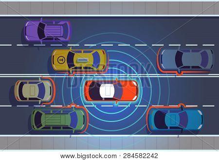 Self Driving Car. Automotive Cars Futuristic Technology Remote Top View Automobile Autonomous Smart