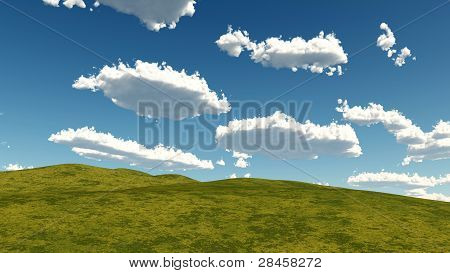 grass and clouds landscape