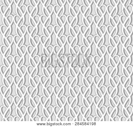 Abstract Seamless Lace Pattern, Swirly Tulle Texture, Ornamental Background In Neutral Grey Color