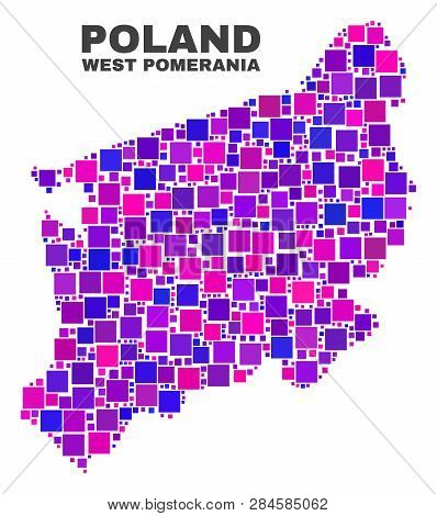 Mosaic West Pomeranian Voivodeship Map Isolated On A White Background. Vector Geographic Abstraction