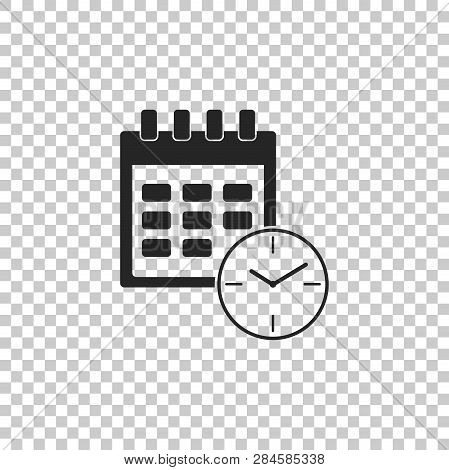 Calendar And Clock Icon Isolated On Transparent Background. Schedule, Appointment, Organizer, Timesh