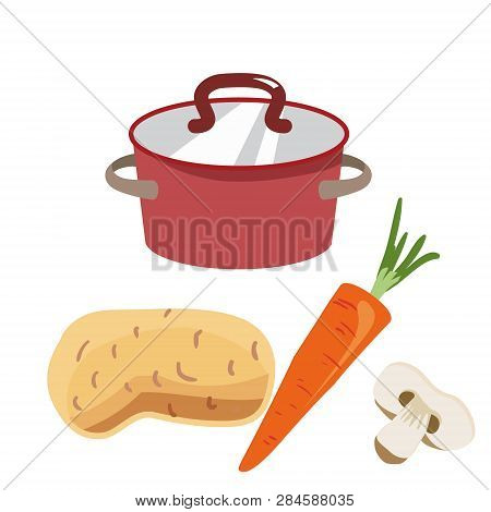 Red Saucepan With Copper Lid. Ingredients For The Preparation Of Mushroom Soup: Potatoes, Carrots, S