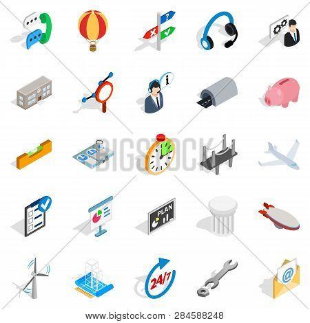 Elaboration Icons Set. Isometric Set Of 25 Elaboration Icons For Web Isolated On White Background