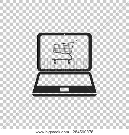Online Shopping Concept. Shopping Cart On Screen Laptop Icon Isolated On Transparent Background. Con