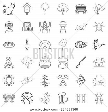 Countryside Icons Set. Outline Style Of 36 Countryside Icons For Web Isolated On White Background