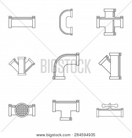 Water Conduit Icon Set. Outline Set Of 9 Water Conduit Icons For Web Isolated On White Background