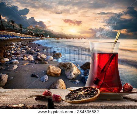 Traditional Turkish Tea On Coastline Of Mediterranean Sea