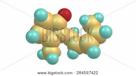 Jasmone is an organic compound, which is a volatile portion of the oil from jasmine flowers. It is a colorless to pale yellow liquid. 3d illustration poster