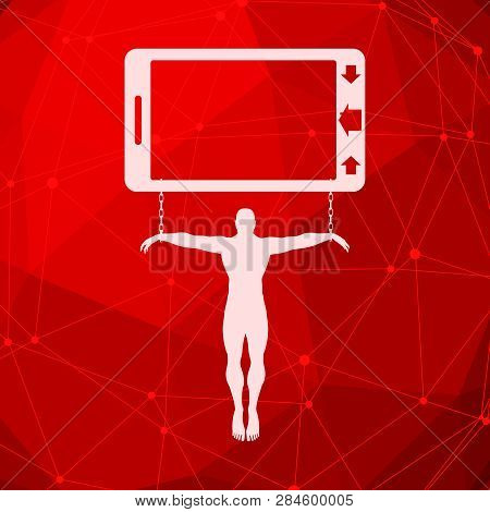 Man Chained To Smartphone Icon. Unhealth Addicition Metaphor. Molecule And Communication Background.