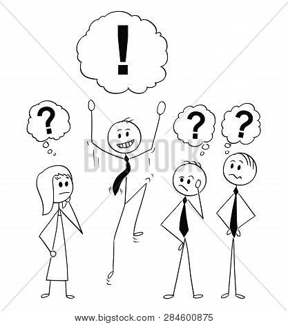 Cartoon Stick Figure Drawing Conceptual Illustration Of Group Of Businessman And Businesswoman On Br