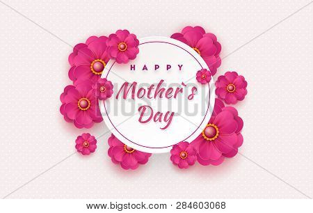 Mother S Day Card With Beautiful Blooming Flowers On A Gentle Geometric Background In Pastel Colors.