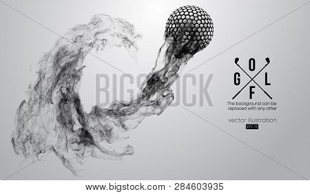 Abstract Silhouette Of A Golf Ball On The White Background From Particles, Dust, Smoke, Steam. Golf