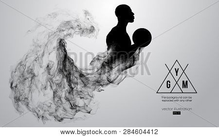 Abstract Silhouette Of A Bodybuilder. Gym Logo On The White Background From Particles, Dust, Smoke,