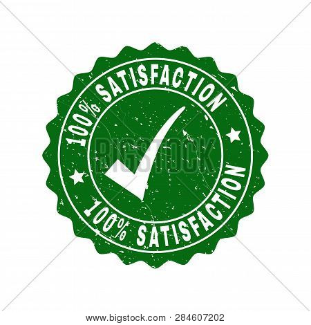Vector 100 Percents Satisfaction Grunge Stamp Seal With Tick Inside. Green 100 Percents Satisfaction