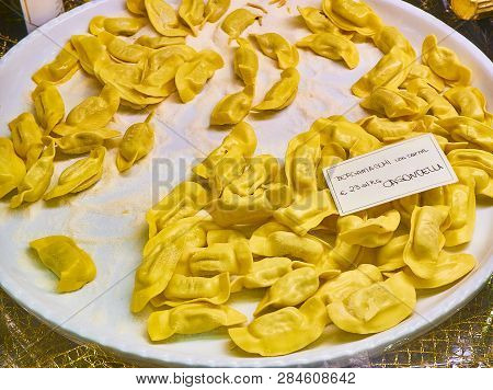 Homemade Casoncelli Meat Fillings For Sale In A Shop. Fresh Stuffed Pasta Typical Of The Culinary Tr