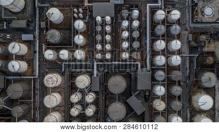 Storage Of Liquid Petrochemical Product Tank, Aerial View, Liquid Chemical And Petrochemical Product