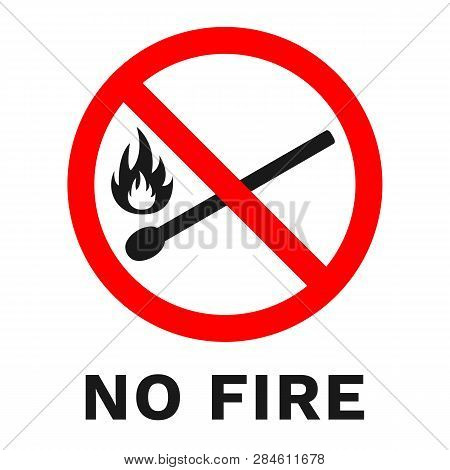 No Fire Sign. Banner With Text. Vector.