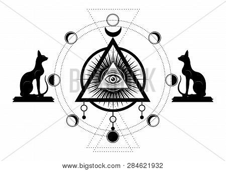 Mystical Drawing: The Third Eye, All-seeing Eye, Circle Of A Moon Phase. Sacred Geometry And Egyptia