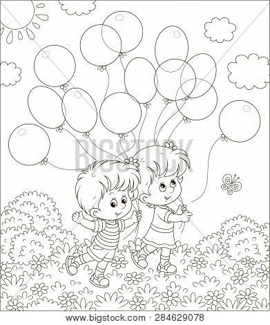 Children Walking With Balloons In A Park On A Sunny Summer Day, Black And White Vector Illustration
