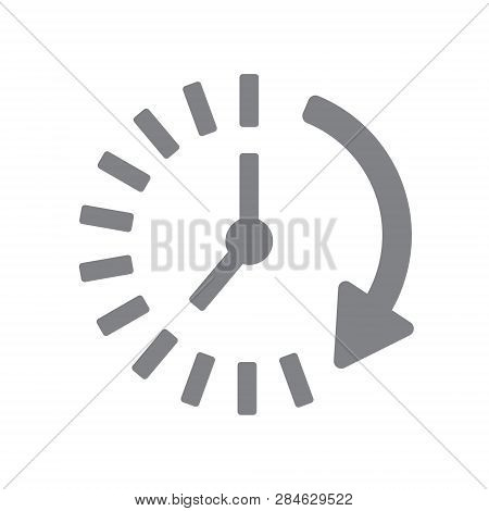 Time Icon. Time And Watch, Timer Symbol. Ui. Web. Logo. Sign Flat Design App Stock. Passage Of Time