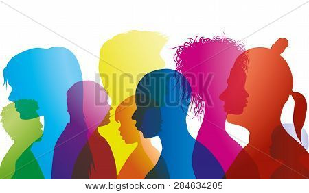 Silhouette Profiles Of Multiracial People Of Different Ages. Group Of People Different Nationalities