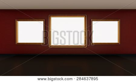 Frames On The Gallery Wall, 3d Illustration