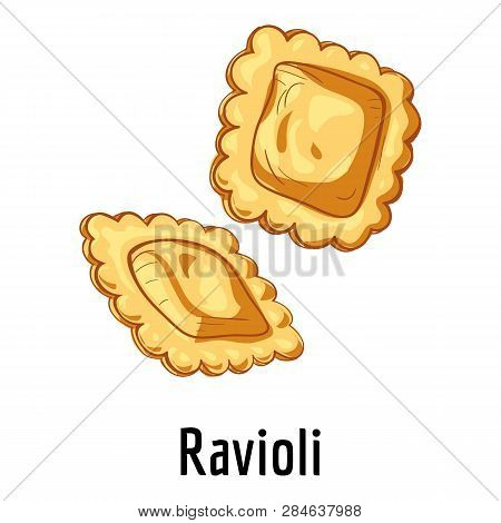 Ravioli Icon. Cartoon Of Ravioli Vector Icon For Web Design Isolated On White Background