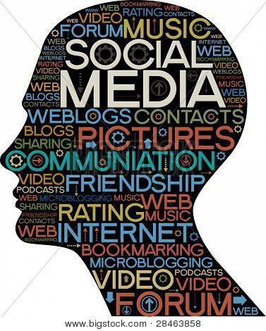 他的头与专题的社交网络上的字的轮廓