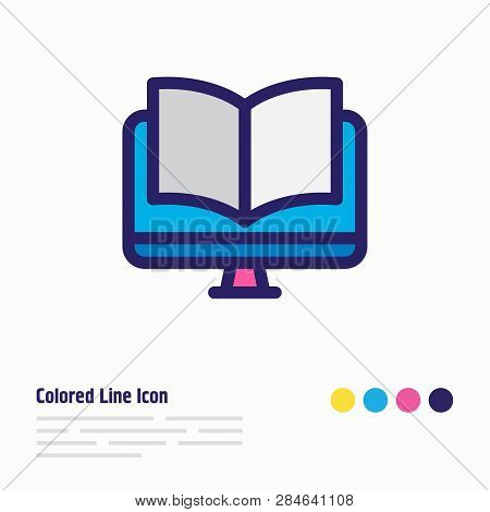 Vector Illustration Of Ebook Icon Colored Line. Beautiful Book Element Also Can Be Used As Online Re