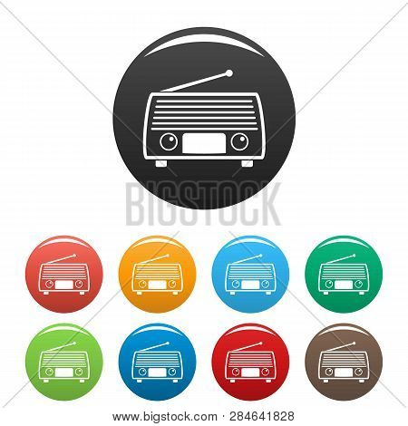 Radio Tuner Icons Set 9 Color Vector Isolated On White For Any Design