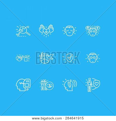 Vector Illustration Of 12 Emotions Icons Line Style. Editable Set Of Honesty, Shy, Think Green And O