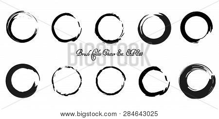 Black Stroke Circles Vector Collection. Paint Brush Enso Symbol Set. Eps 10