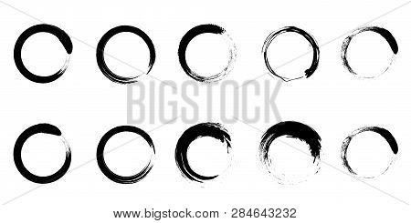 Brush Paint Black Circles Vector Set. Eps10. Zen Enso Symbol Collection. Stroke Round Shapes