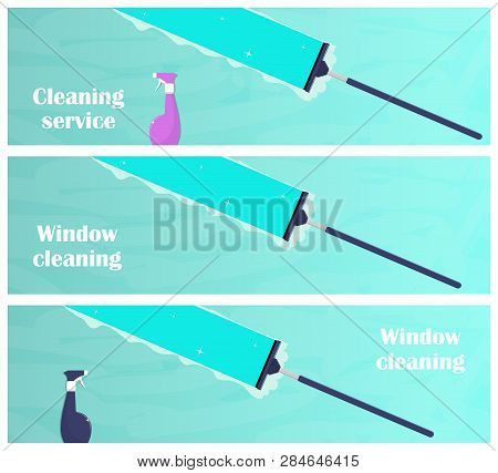 Window Cleaning Horizontal Banners. Glass Scraper Glides Over The Glass, Making It Clean. Window Cle