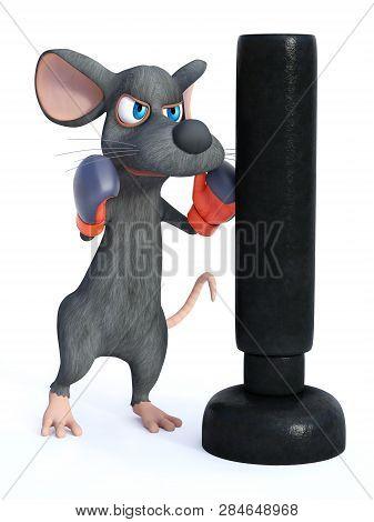 3d Rendering Of A Cute Cartoon Mouse Wearing Boxing Gloves And Punching A Heavy Bag. White Backgroun