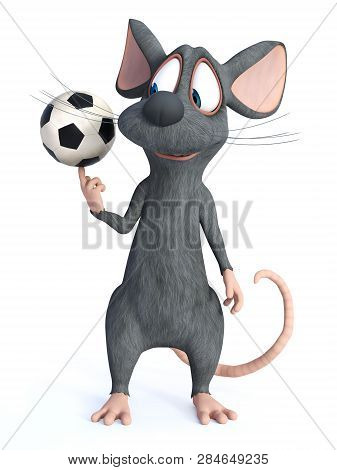 3d Rendering Of A Cute Smiling Cartoon Mouse Spinning A Soccer Ball On His Finger. White Background.