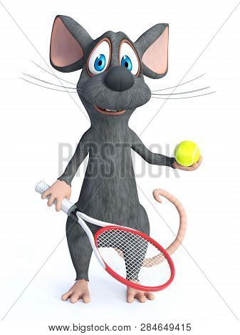 3d Rendering Of A Cute Smiling Cartoon Mouse Holding A Tennis Racket And Ball. White Background.