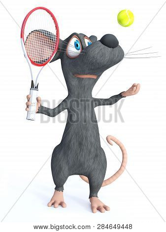 3d Rendering Of A Cute Smiling Cartoon Mouse Holding A Tennis Racket And Throwing A Ball In The Air