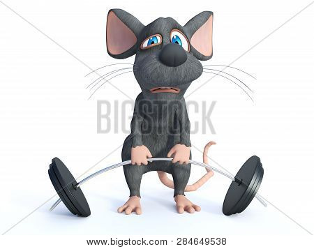 3D Rendering Of A Cartoon Mouse Doing A Workout With A Barbell.