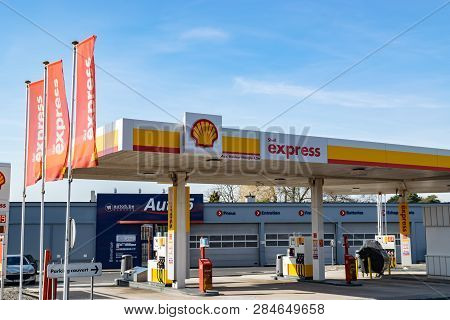 Mouscron,belgium-february 17,2019: View Of The Petrol Station Shell.royal Dutch Shell It Is A Britis