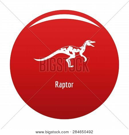 Raptor icon. Simple illustration of raptor vector icon for any design red poster